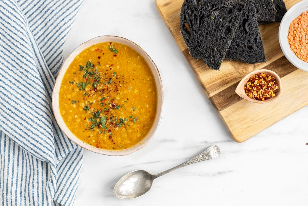 Leek carrot and lentil soup