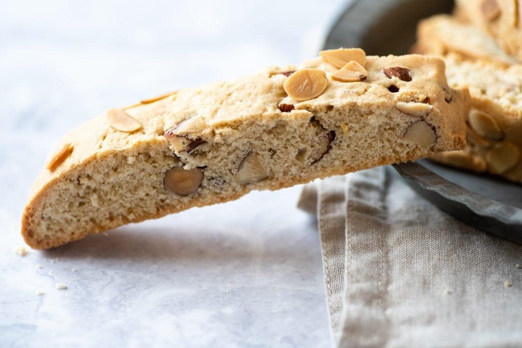 Almond biscotti on plate