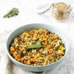 vegan lentil stew in bowl on countertop