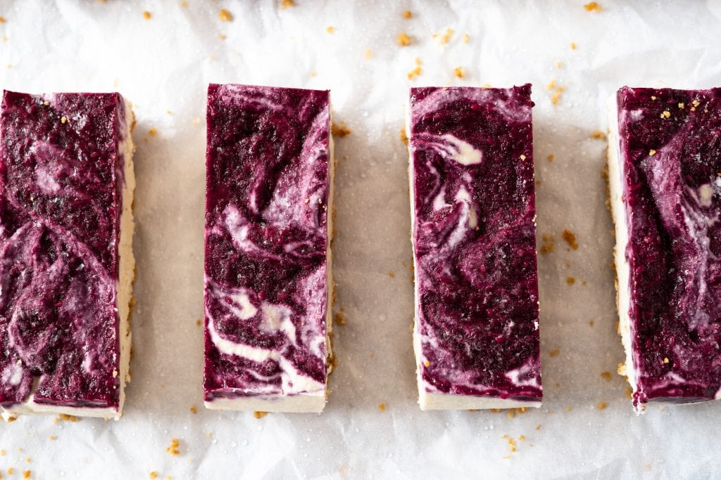 Blackberry vegan cheesecake bars