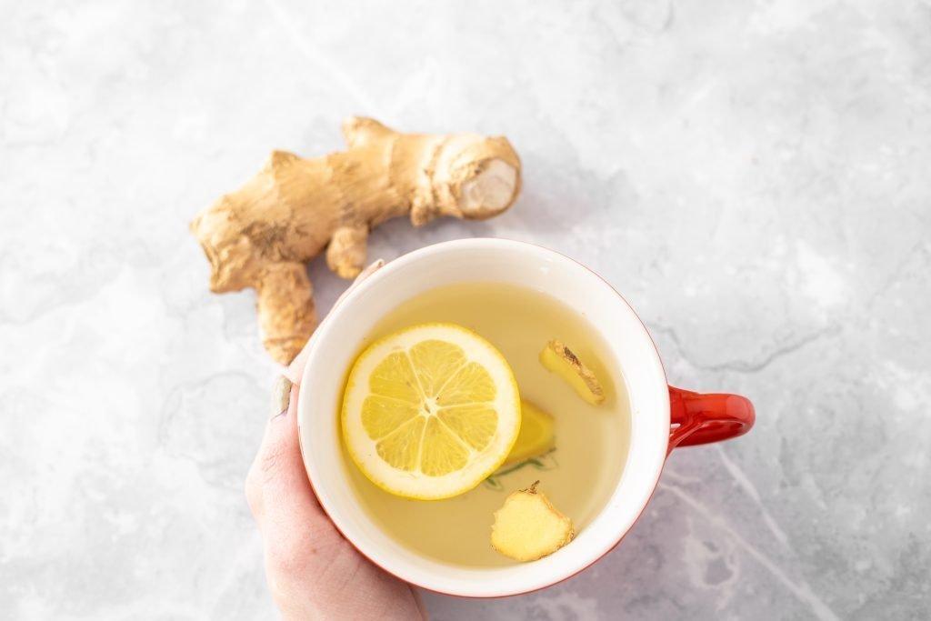 Ginger and lemon tea in mug
