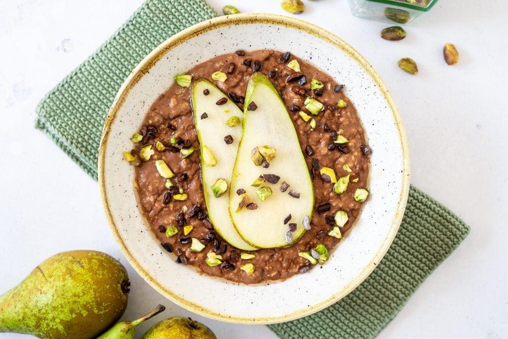 Chocolate pear porridge
