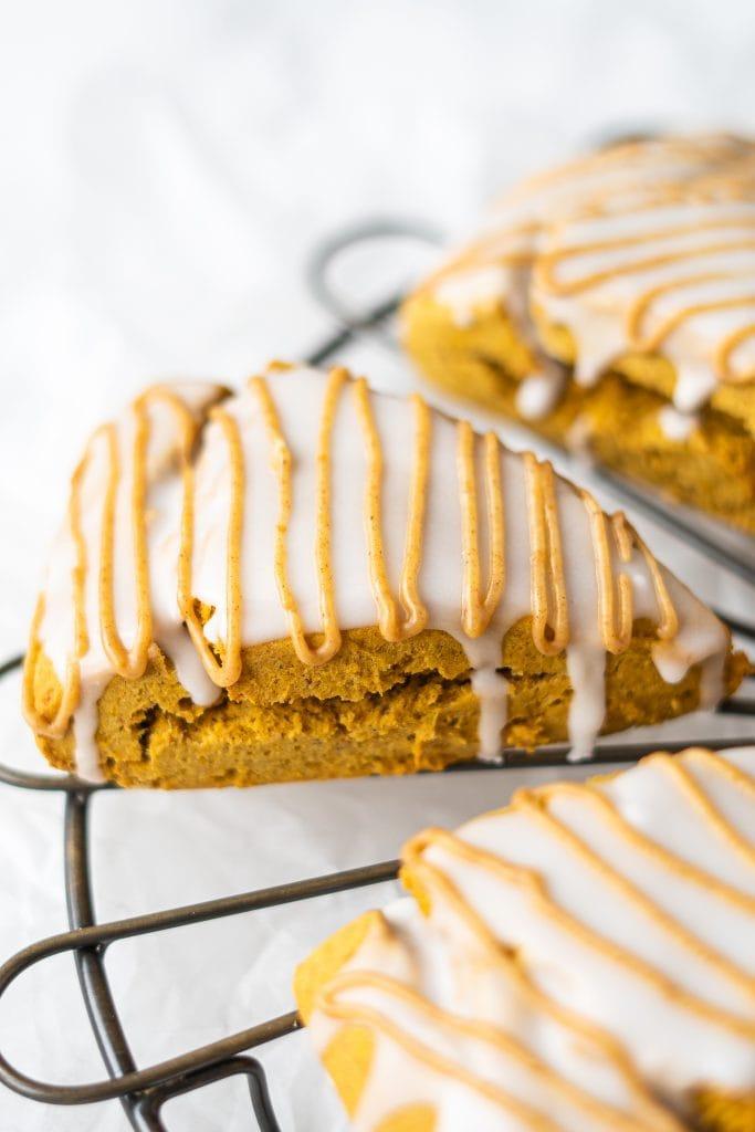 gluten-free pumpkin scone on cooling rack