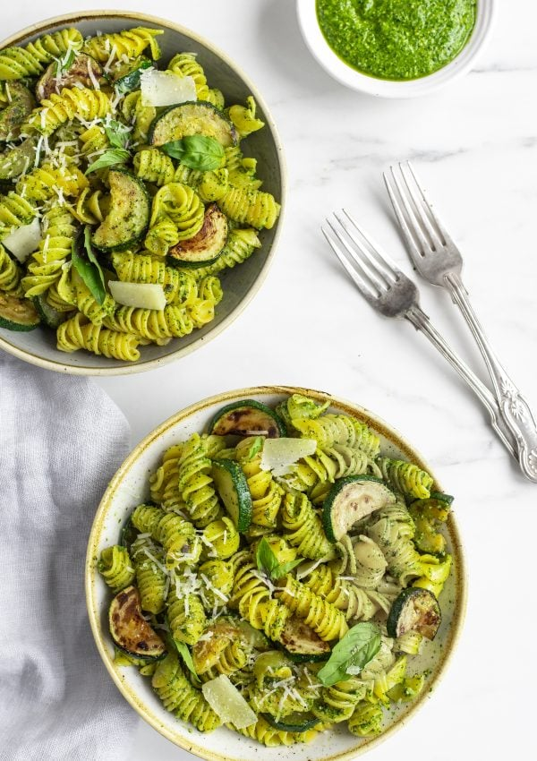 Courgette and Spinach Pesto Pasta