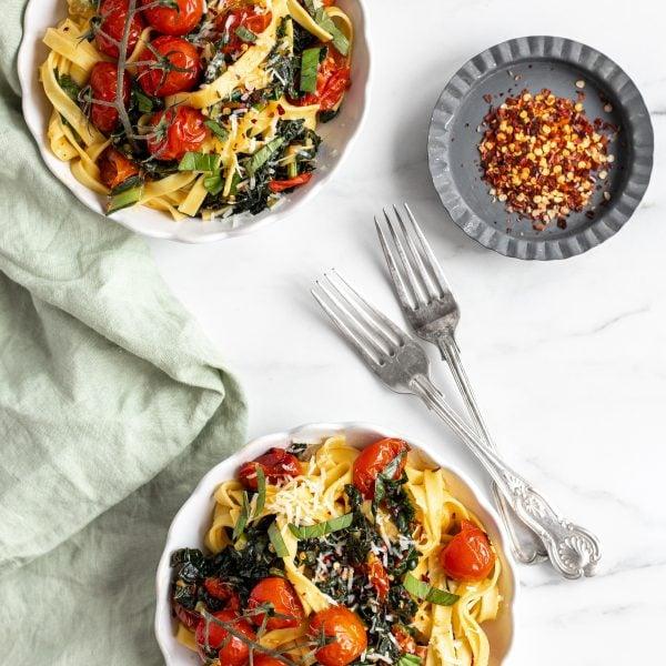 Roasted Tomato and Kale Pasta