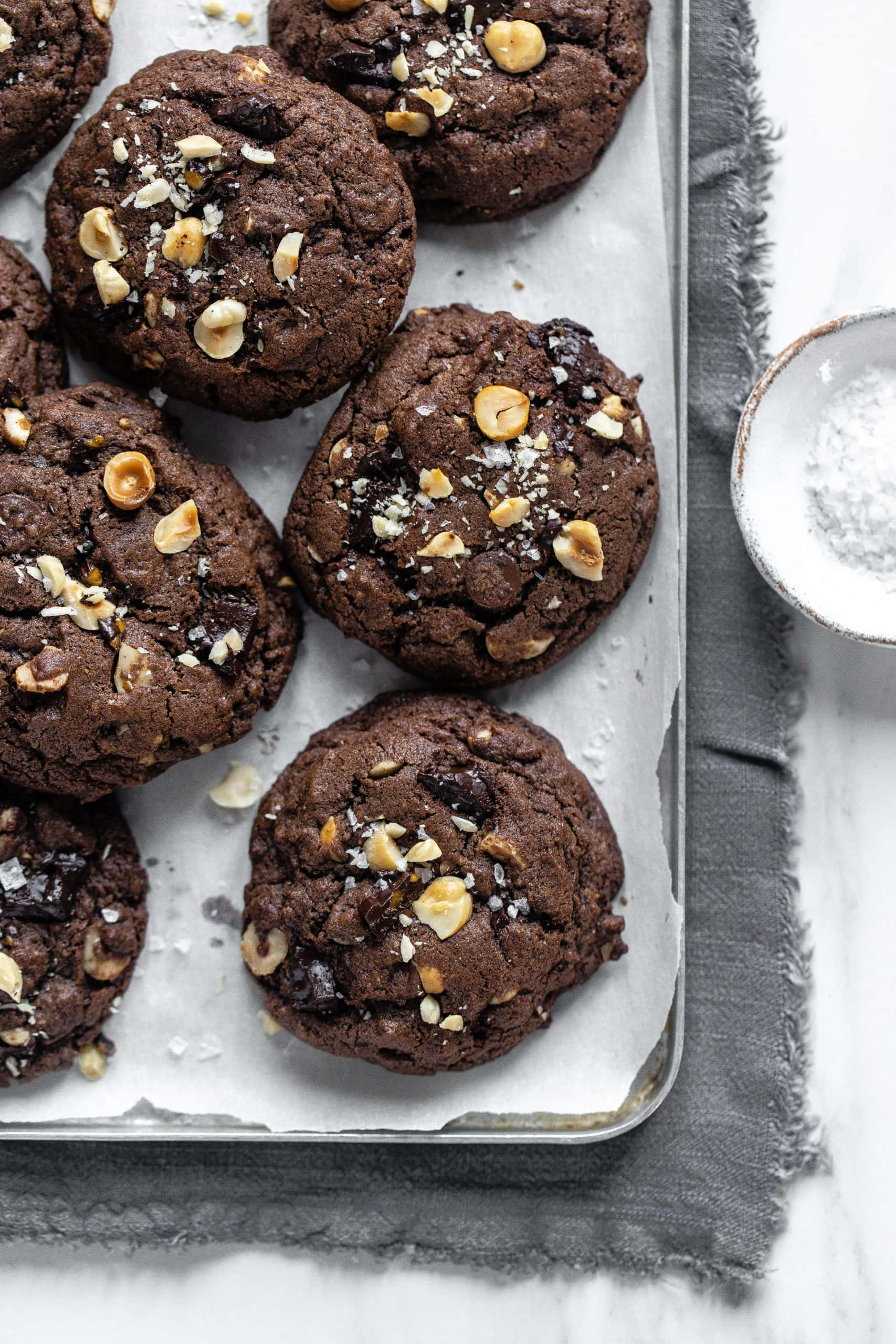 double chocolate hazelnut cookies on tray